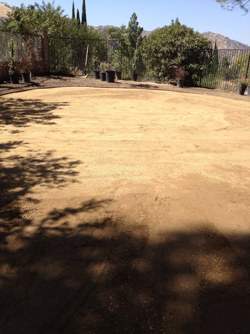 Artificial turf install process at the very beginning