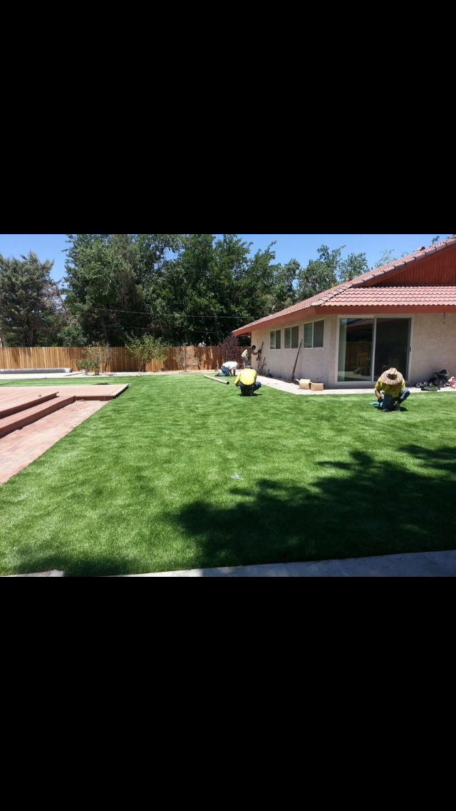 Artificial turf installing the whole backyard