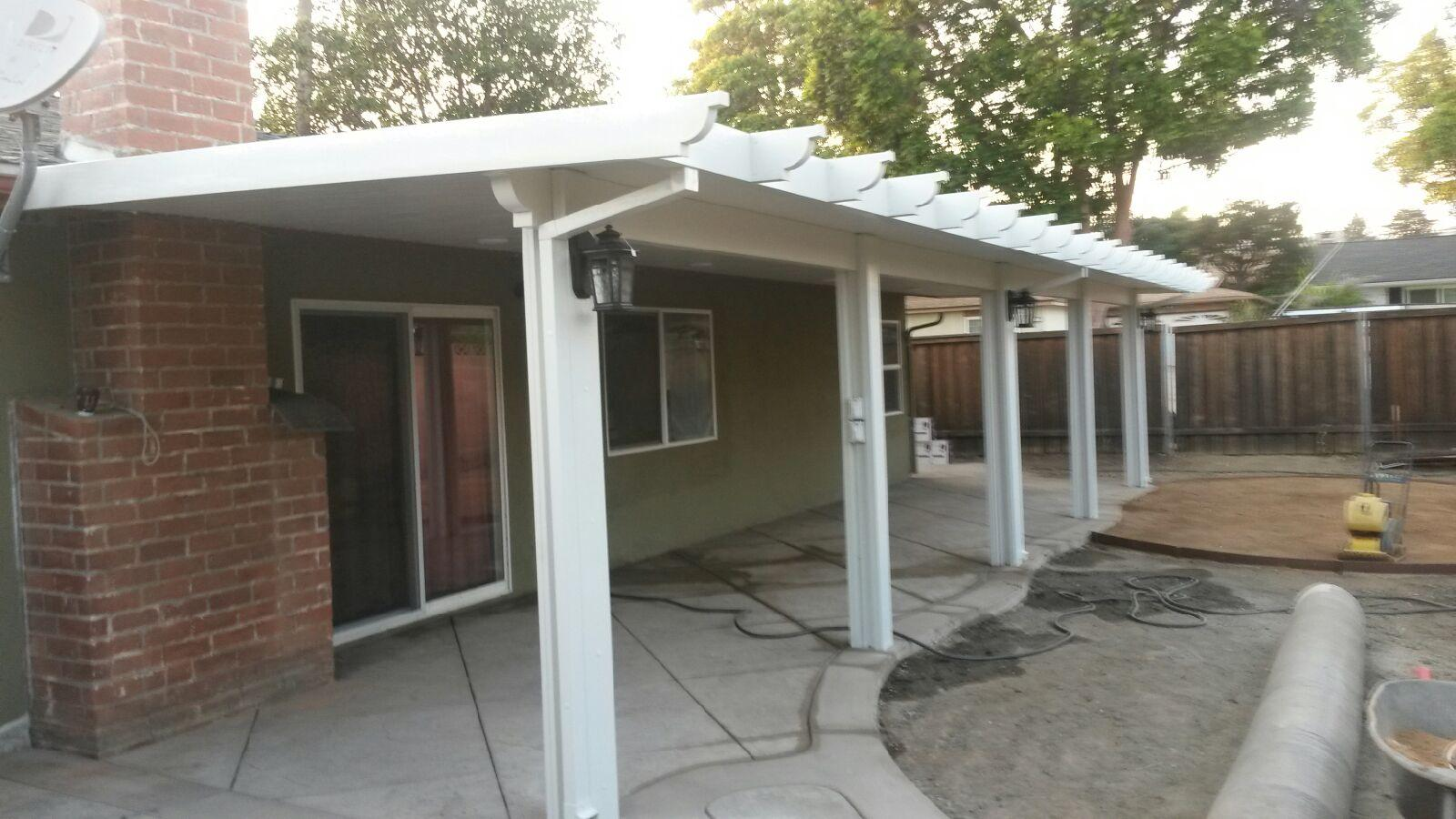 Patio cover across the backyard