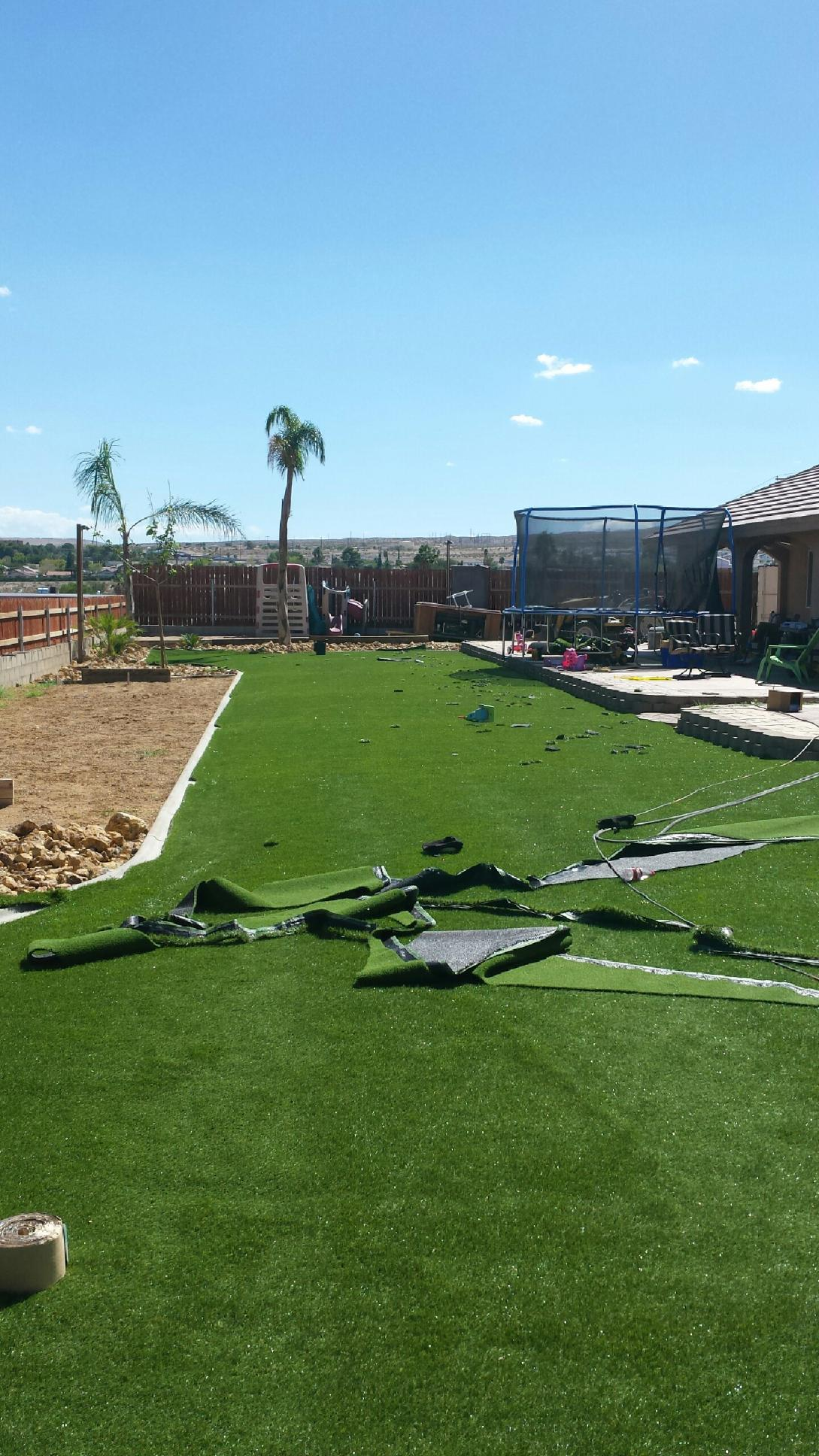 Turf Putting Green in backyard the beginnings